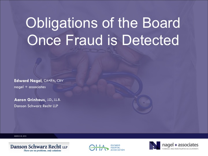 Webcast: Obligations of the Board Once Fraud is Detected